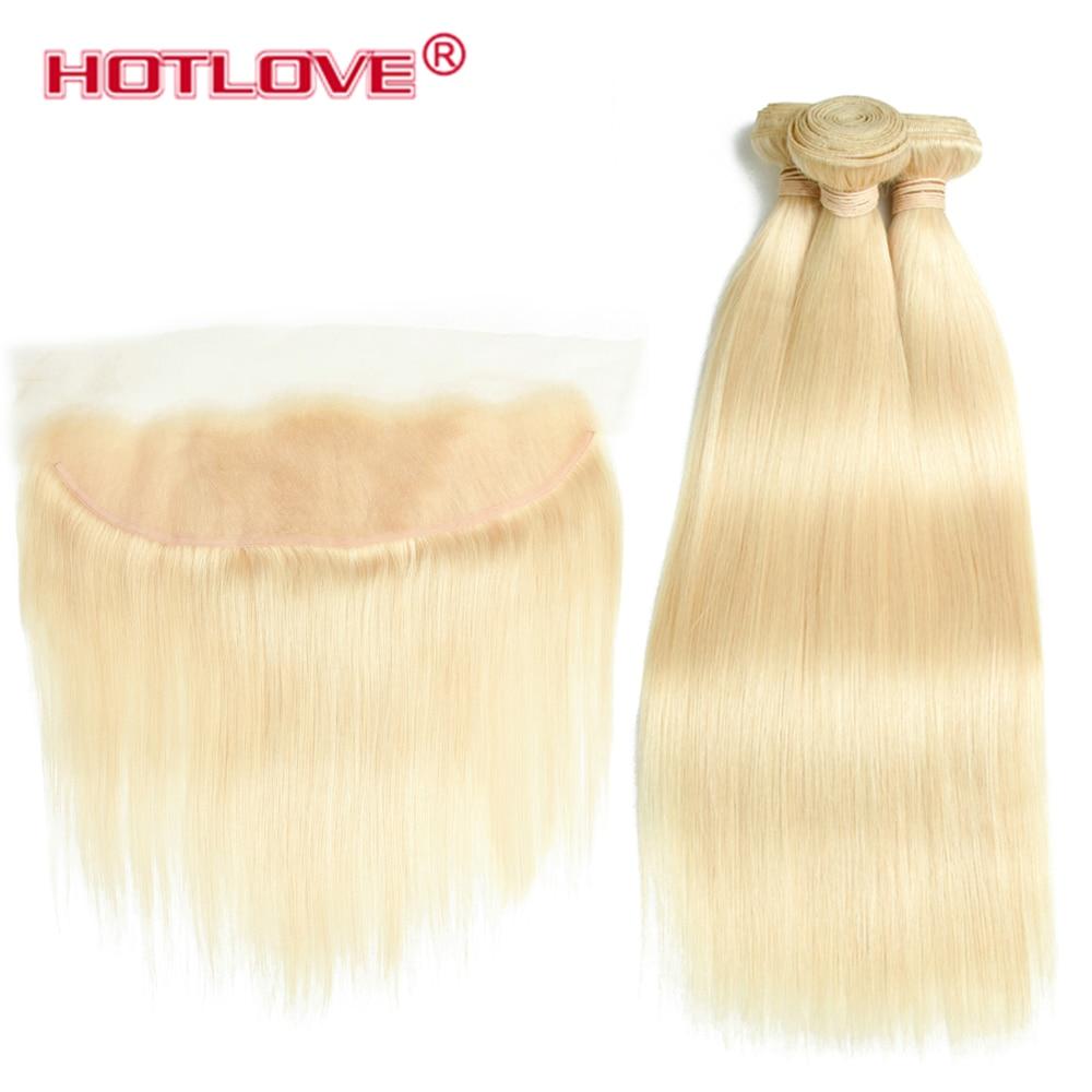 Hotlove человеческих волос 613 светлые волосы 3 Связки с закрытием кружева перуанский прямые 3 Связки с уха до уха 13x4 кружева фронтальной