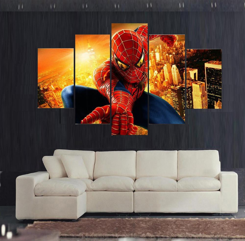Printed, Spiderman, Poster, Decor, Panels, Art