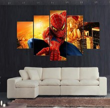 (Unframed)5 Panels Spiderman Wall Painting Picture Printed On Canvas Art Home Decor Poster Pictures