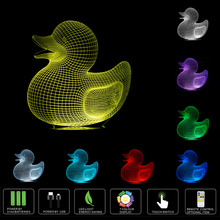 2017Hot Cartoon 3D Duck Creative Night Light 7 Color Change LED Table Lamp Xmas Toy Gift