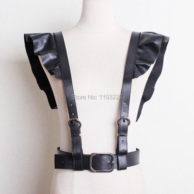 European Streepy Club Pub Handcrafted Leather Harness Ruffle Frill Lotus Leaf Shoulder Underbust Body Bondage Straps Belt