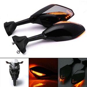 Black Motorcycle Front Back LED Turn Signal Integrated Mirrors for HONDA CBR 600RR 1000RR F3 F4 Yamaha FZ1 FAZER Suzuki SV650(China)