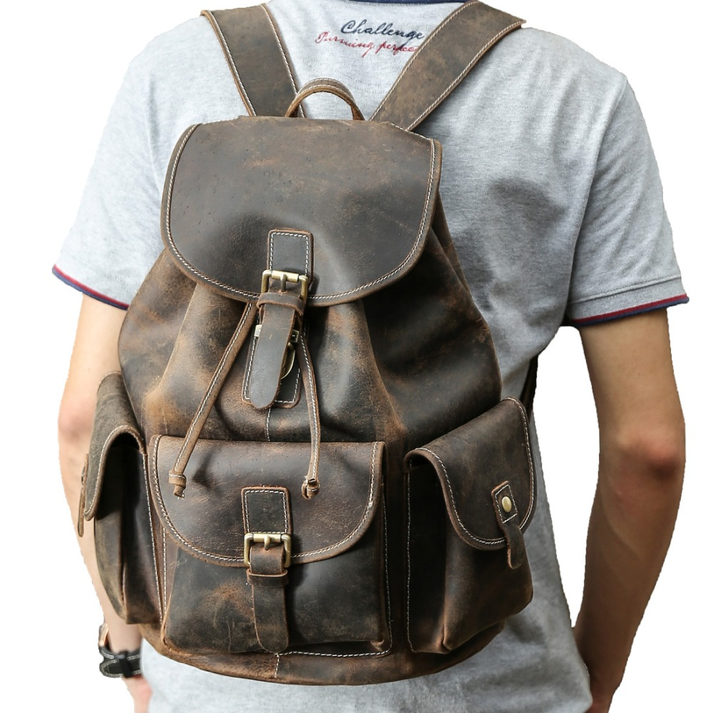 купить Tiding Large Thick Genuine Leather Drawstring Backpack for Men Vintage Rucksack Backpack for 15.6 Inch Laptop 3165 недорого
