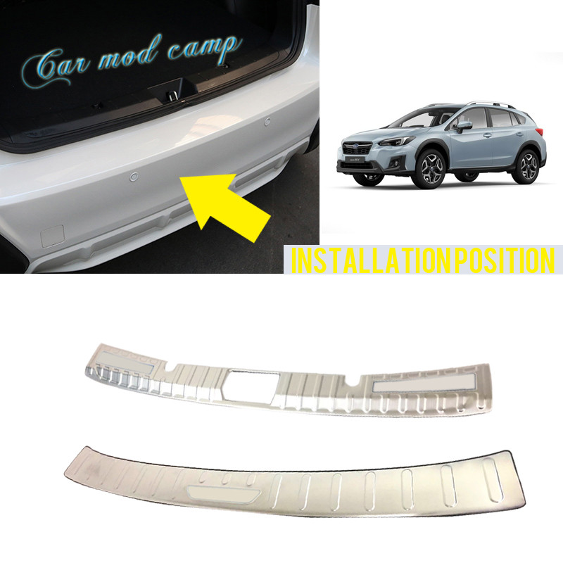 For Subaru Impreza XV hatchback 2017 2018 Stainless Inner Outer Rear Bumper Protector Plate Trims 2pcs