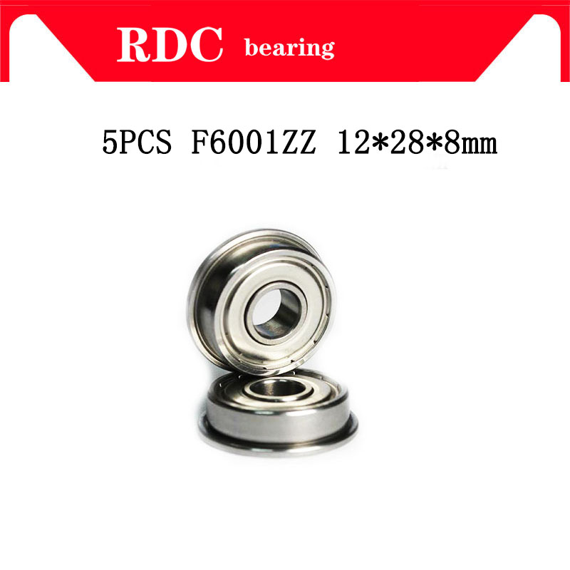 High Quality 5 Pcs ABEC-5 F6001ZZ F6001 ZZ F6001 12*28*8 Mm 12x28x8 Mm Metal Double Shielded Flanged Bearing Ball Bearings
