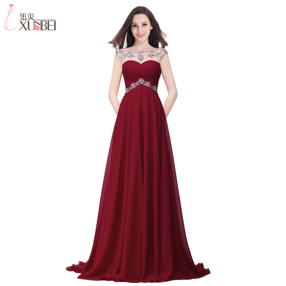 2017 beaded sheer scoop neckline pleated elegant long burgundy evening dress robe de soiree. Black Bedroom Furniture Sets. Home Design Ideas