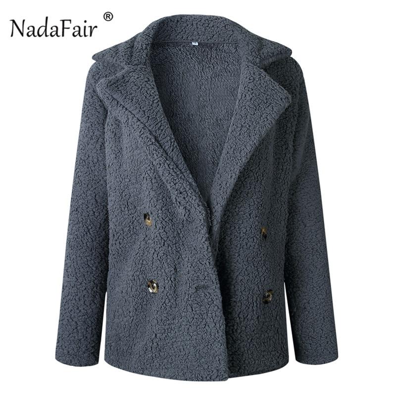 Nadafair plus size fleece faux fur jacket coat women winter pockets thicken teddy coat female plush overcoat casual outerwear 34