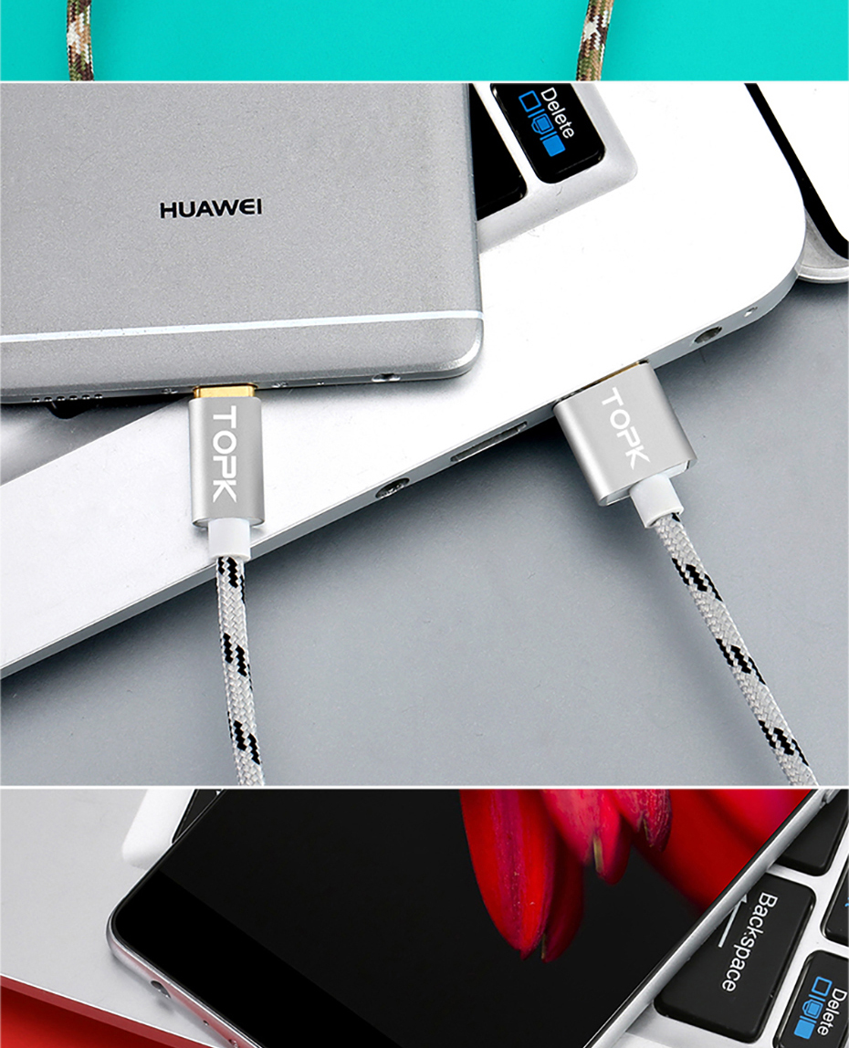 TOPK Micro USB Cable 2.4A Fast Data Sync Charging Cable For Samsung Huawei Xiaomi LG Andriod Microusb Mobile Phone Cables 11