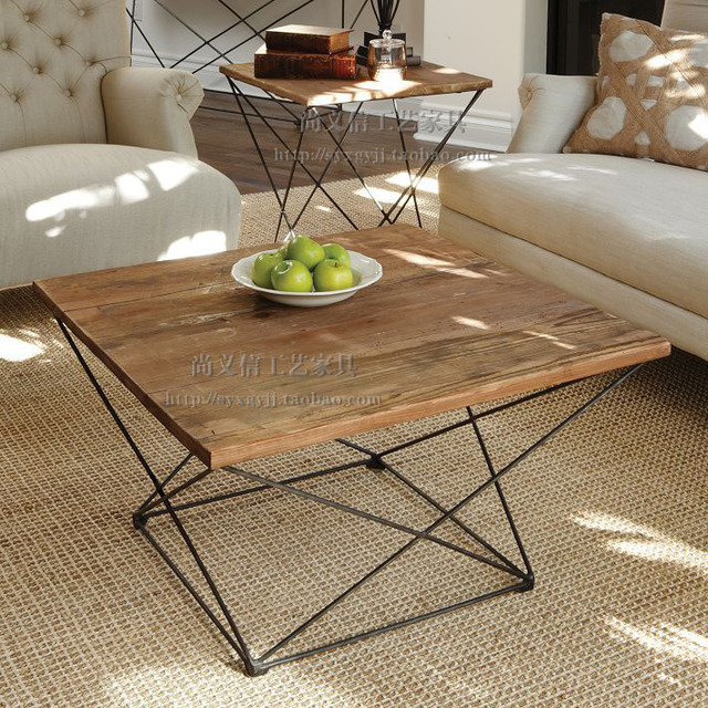 Bon LOFT Retro Minimalist Industrial Style Furniture Living Room Coffee Table  Made Of Old Wood , Wrought