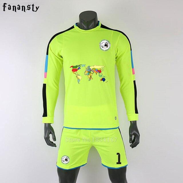Survetement futebol 2017 camisas de futebol dos homens de futebol  personalizado jerseys homens uniformes de goleiro 78d18008098f9