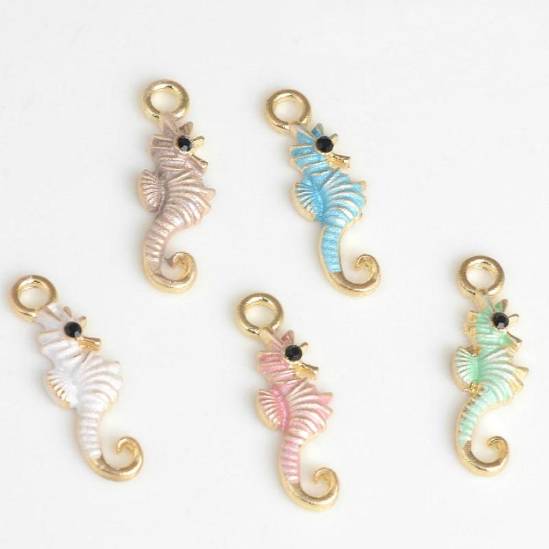 Wholesale 100PCS 7*21MM Enamel Alloy Animal Sea Horse Charms Pendant Oil Drop Metal Ornament Accessories Bracelet Charm Craft