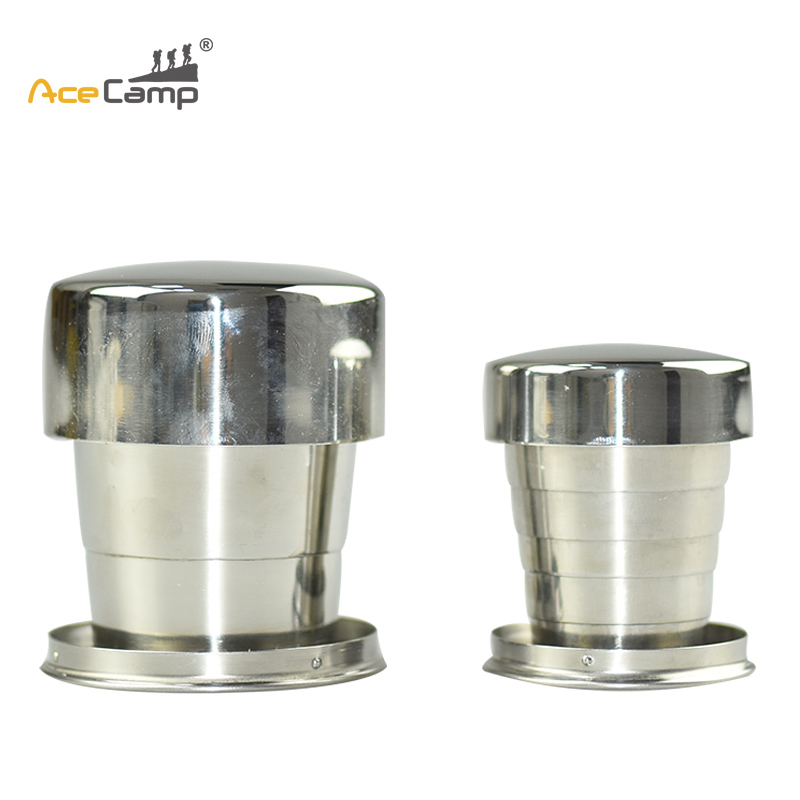 AceCamp 60ml 150ml Mini Stainless Steel Portable Outdoor Travel Camping Folded Collapsible Cup