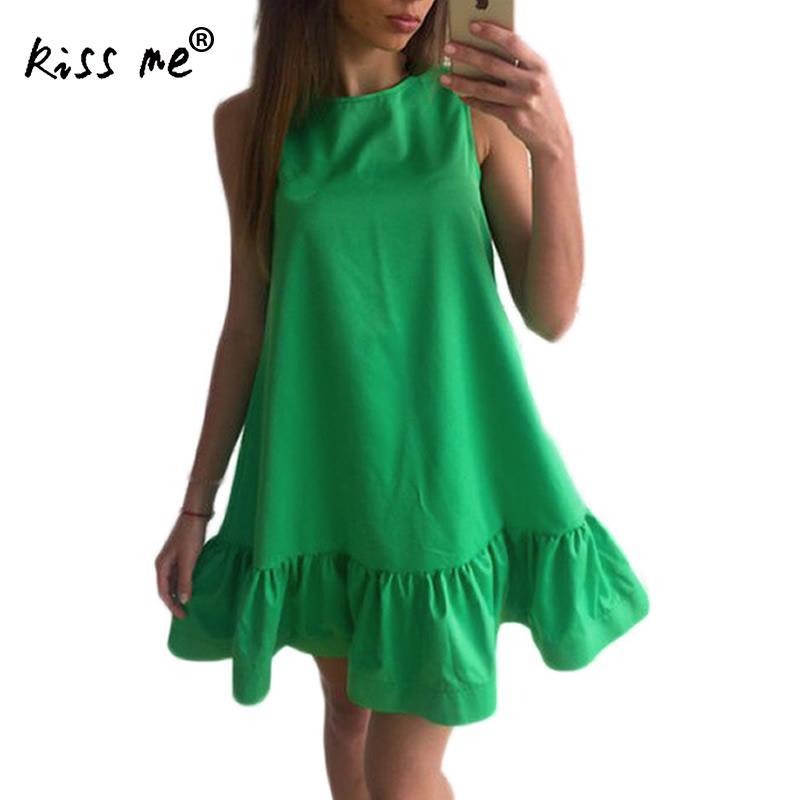 Платье Для женщин рюшами без рукавов короткое платье; Повседневное Мини-платья Лето Пляжное платье vestidos Femme Ete богемное свободное платье