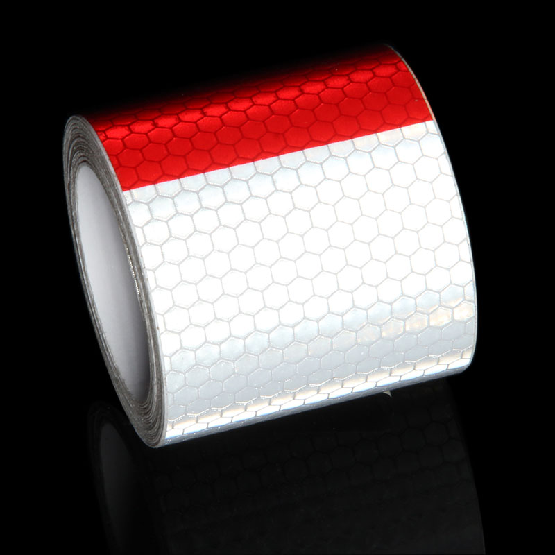 Красный, белый Moto Стикеры клей светоотражающие ленты велосипедов прицеп мотоцикла Отражатель Светоотражающие Безопасности Предупреждени...