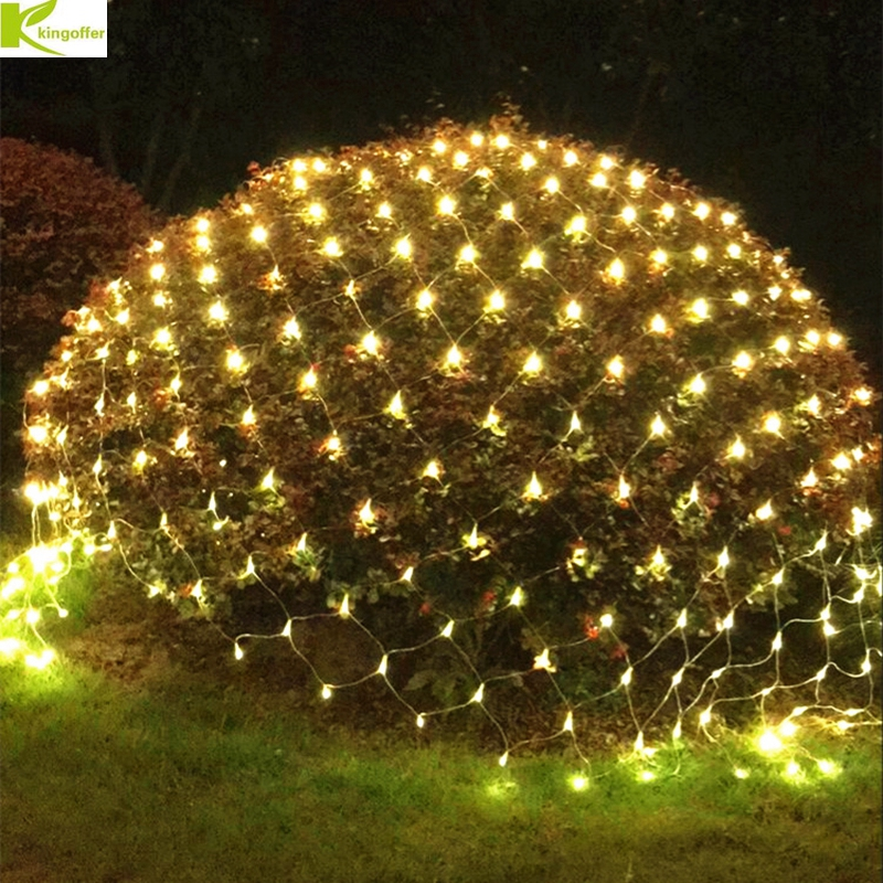 купить DHL 8Mx10M 2600Led Christmas Garlands LED String Fishing Net Lights Fairy Xmas Party Garden Wedding Decoration Curtain 220V онлайн