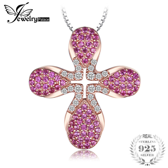 Jewelrypalace fashion 05ct created ruby rose gold plated cross jewelrypalace fashion 05ct created ruby rose gold plated cross pendant necklaces 45cm chain 925 sterling aloadofball Choice Image