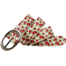 Ladies Floral Pattern Genuine Leather Belt