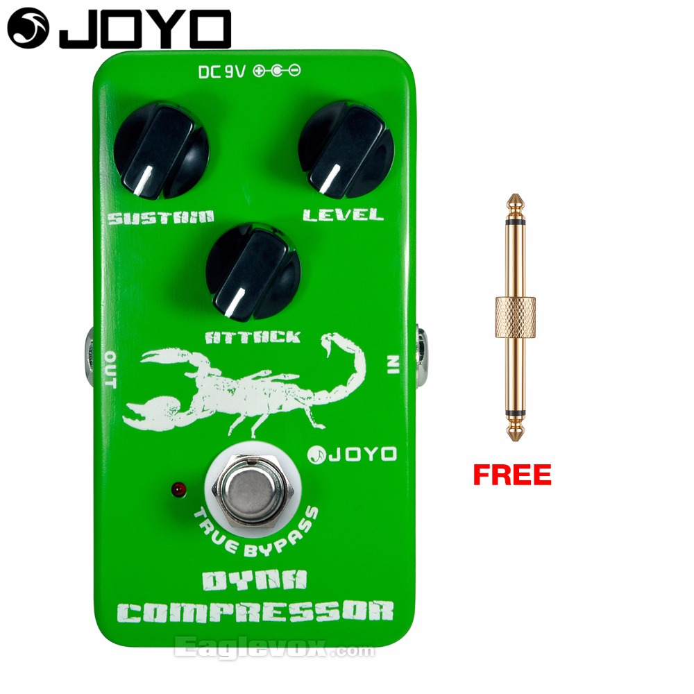JOYO JF-10 Dynamic Compressor Electric Guitar Effect Pedal True Bypass with Free Connector joyo jf 317 space verb digital reverb mini electric guitar effect pedal with knob guard true bypass