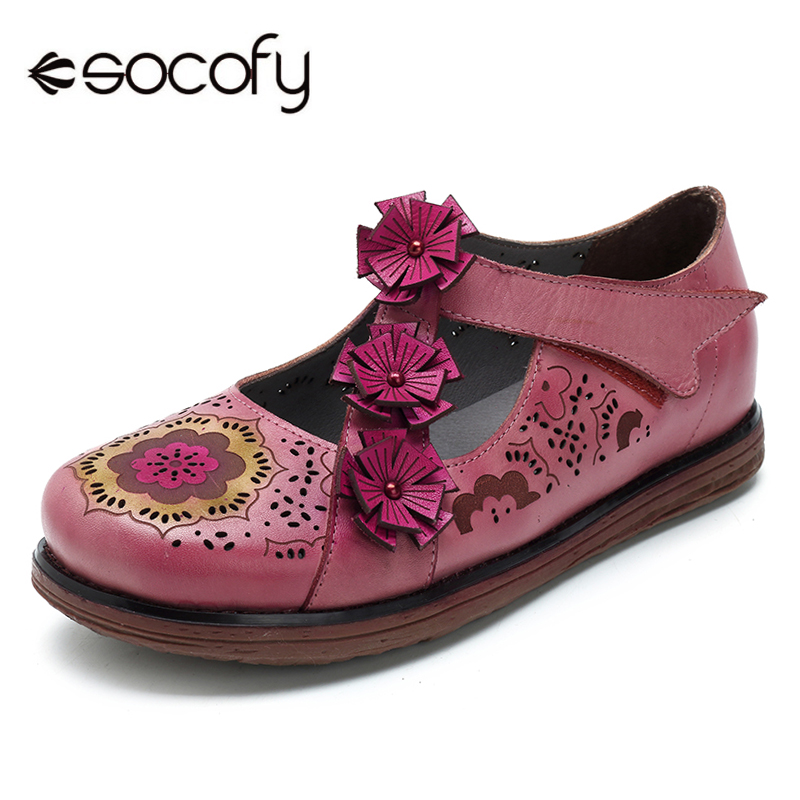 Socofy Vintage Genuine Leather Flat Heel Mary Jane Shoes Hook Loop Handmade Flower Summer Spring Women Shoes Soft Sole Flats New socofy bohemian genuine leather shoes women sandals vintage printing forest hook loop wedge heel women slippers summer new