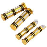 Motorcycle Black Golden 1 Handlebar Hand Grips Foot Pegs Rests For Harley