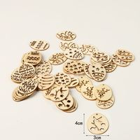 50pcs Happy Easter Eggs Wooden Craft DIY Wood Chips Hanging Ornaments Home Decorations 40x30mm