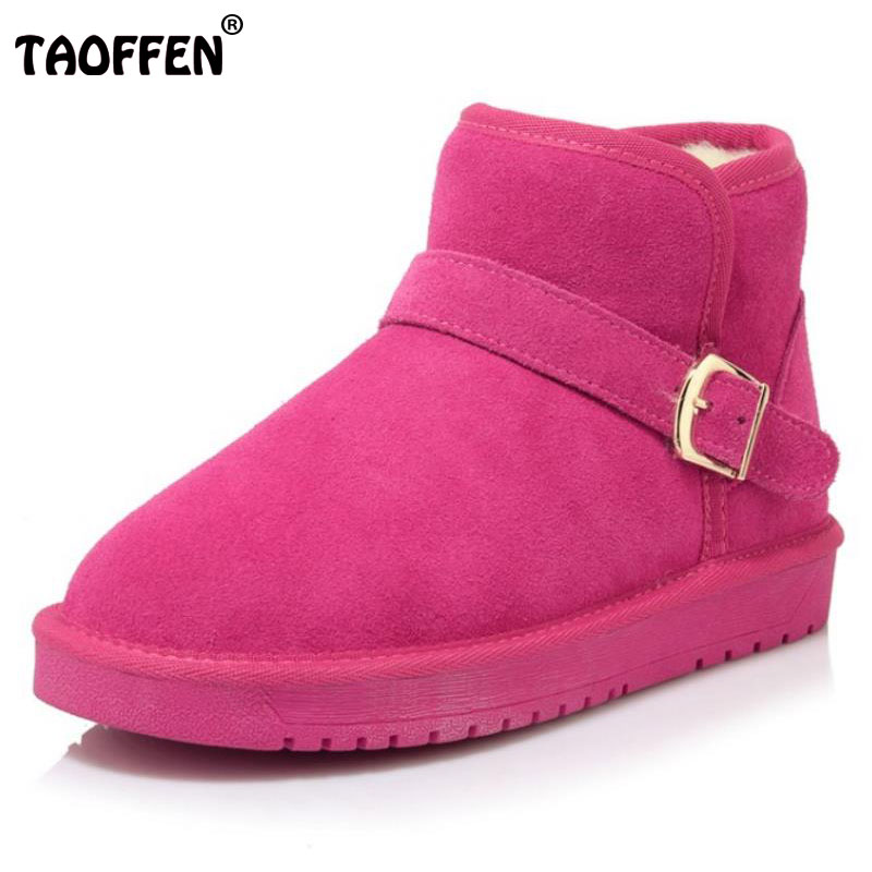TAOFFEN Cold Winter Snow Shoes Women Real Leather Thick Fur Inside Ankle Snow Boots Women Thick Platform Flat Botas Size 34-39 rizabina cold winter snow shoes women real leather warm fur inside ankle boots women thick platform warm winter botas size 34 39