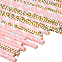 Set of 25 Disposable Party Straws with Striped Print