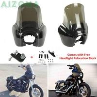 Black Headlight Fairing w/ Smoke Windshield Windscreen Kit For Harley Dyna Low Rider Super Glide Fat Bob FXR FXD 1987 2017