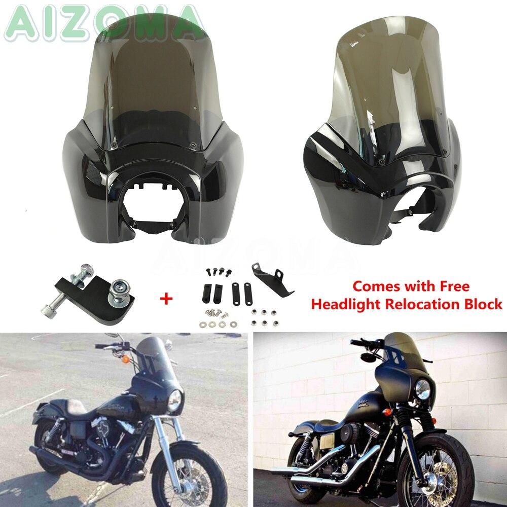 Preto Carenagem Do Farol w/Fumaça Windshield Windscreen Kit Para Harley FXD FXR Dyna Low Rider Super Glide Fat Bob 1987-2017