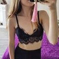 Long Line Lace Bralette Wireless Cups Lounge Bra Soft Triangle Crop Top