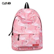 Ou Mo brand 2019 Print Flamingo computer laptop anti theft backpack feminina Women Bag man Boys/Girls Schoolbag