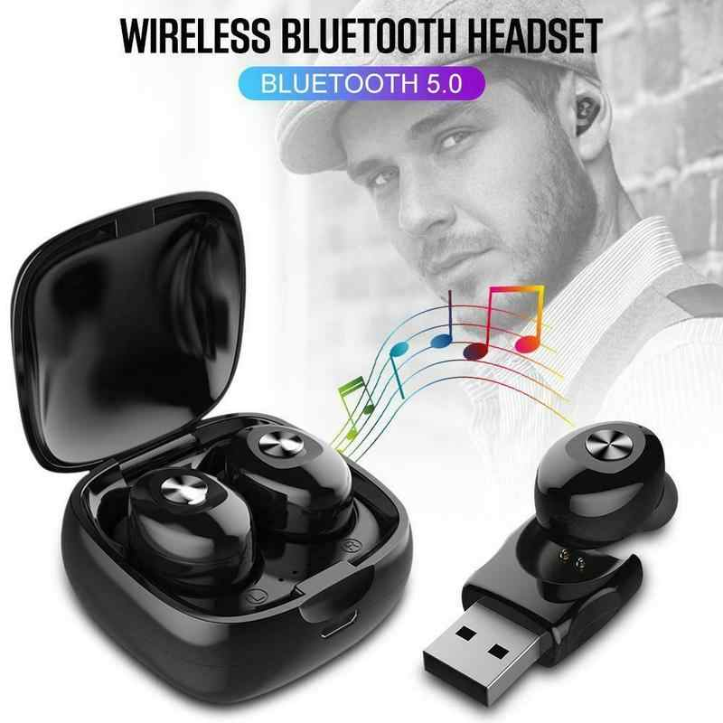 Hot Sale Wireless Bluetooth Earphone Stereo 5.0 Nirkabel Earbus Sport Earphone Handsfree Gaming Headset dengan MIC untuk Ponsel