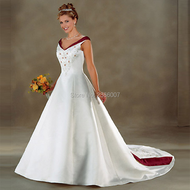HS398 Custom Made White&red Satin wedding gown Embroidery Beading A-Line Spaghetti strap Wedding Dresses 2016 Bridal Gown