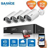 SANNCE HD 1080 P CCTV System 4CH POE NVR 2 TB HDD 4 PCS 2MP 1080 P POE IP Kamera netzwerk Outdoor Kameras Home Security System-in Überwachungssystem aus Sicherheit und Schutz bei