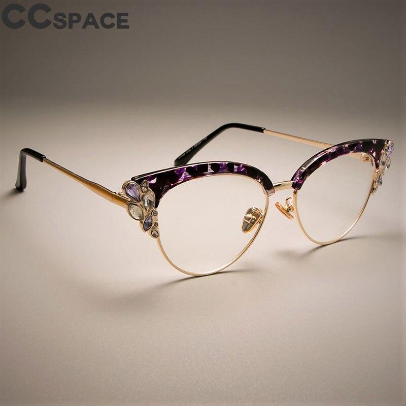 ba9b039149 Detail Feedback Questions about 2018 Luxury Cat Eye Glasses Frames Women  Shiny Rhinestones Purple Floral CCSPACE Brand Designer Eyewear Optical  EyeGlasses ...