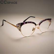 99d2006e3 2018 Armações de Óculos Olho de Gato Mulheres de Luxo Strass Brilhante Roxo  Floral CCSPACE Marca Designer Eyewear Óculos Ópticos.