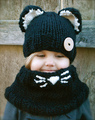 Fox y forma cat crochet con capucha bebé bufanda de invierno lindo caliente niños gato cuello cabeza urdimbre bufanda y gorro, casquillo del knit cowl bufandas