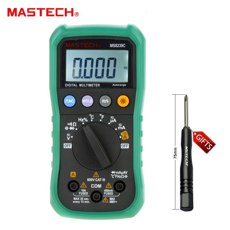 MASTECH BRAND MS8239C Handheld Auto range Digital Multimeter AC DC Voltage Current Capacitance Frequency Temperature Tester mastech my68 handheld lcd auto manual range dmm digital multimeter dc ac voltage current ohm capacitance frequency meter