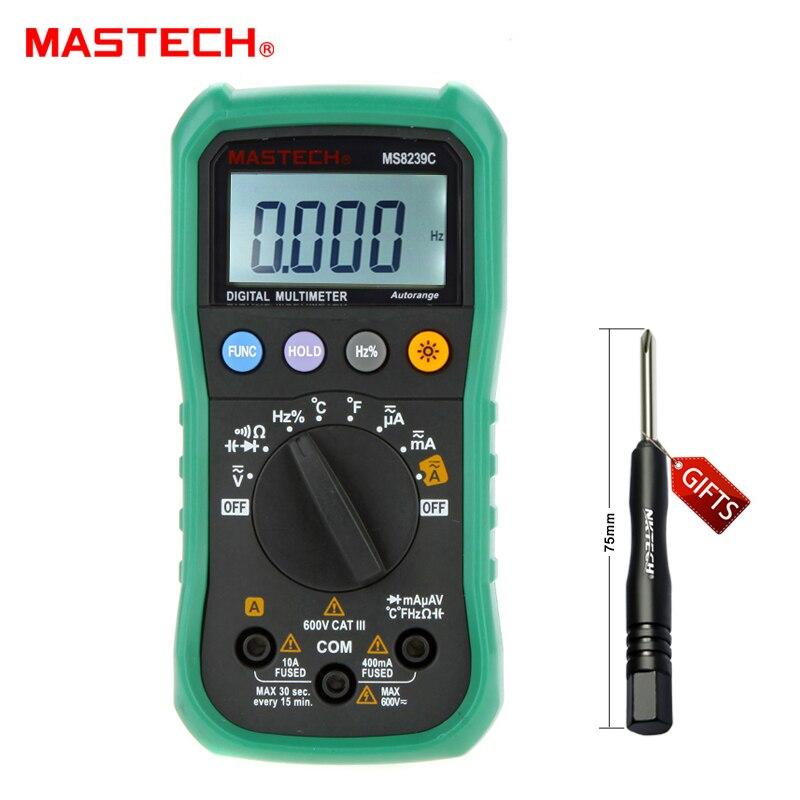MASTECH MARQUE MS8239C De Poche Auto-range Numérique Multimètre AC DC Tension Courant Capacité Fréquence Température Testeur