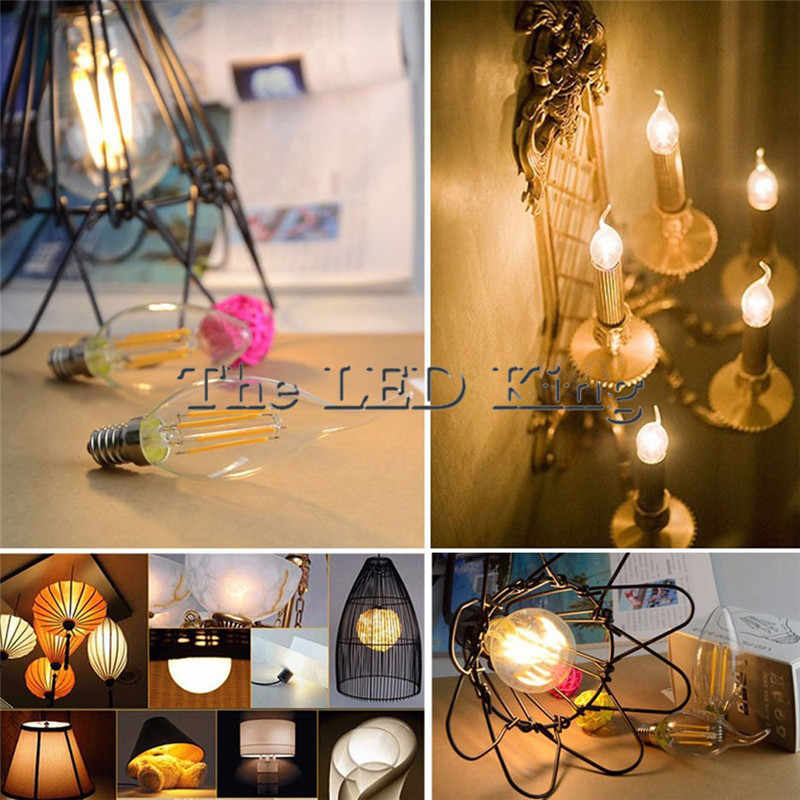 Retro LED Filament Light lamp E27 6W 12W 18W 24W 110V / 220V G45 A60 C35 Clear Glass shell vintage edison led bulb