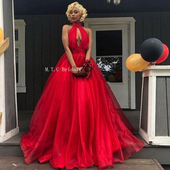 Graceful Red Organza Long Evening Dress High Neck A Line Floor Length Simple Prom Gowns Cheap Wedding Party Dresses 2019 New