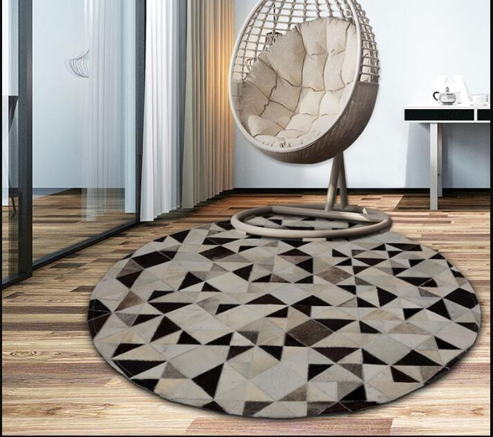Round shaped mosaics cowhide seamed rug <font><b>150</b></font> cm genuine cows skin fur carpet for living room bedroom decoration can be customized image
