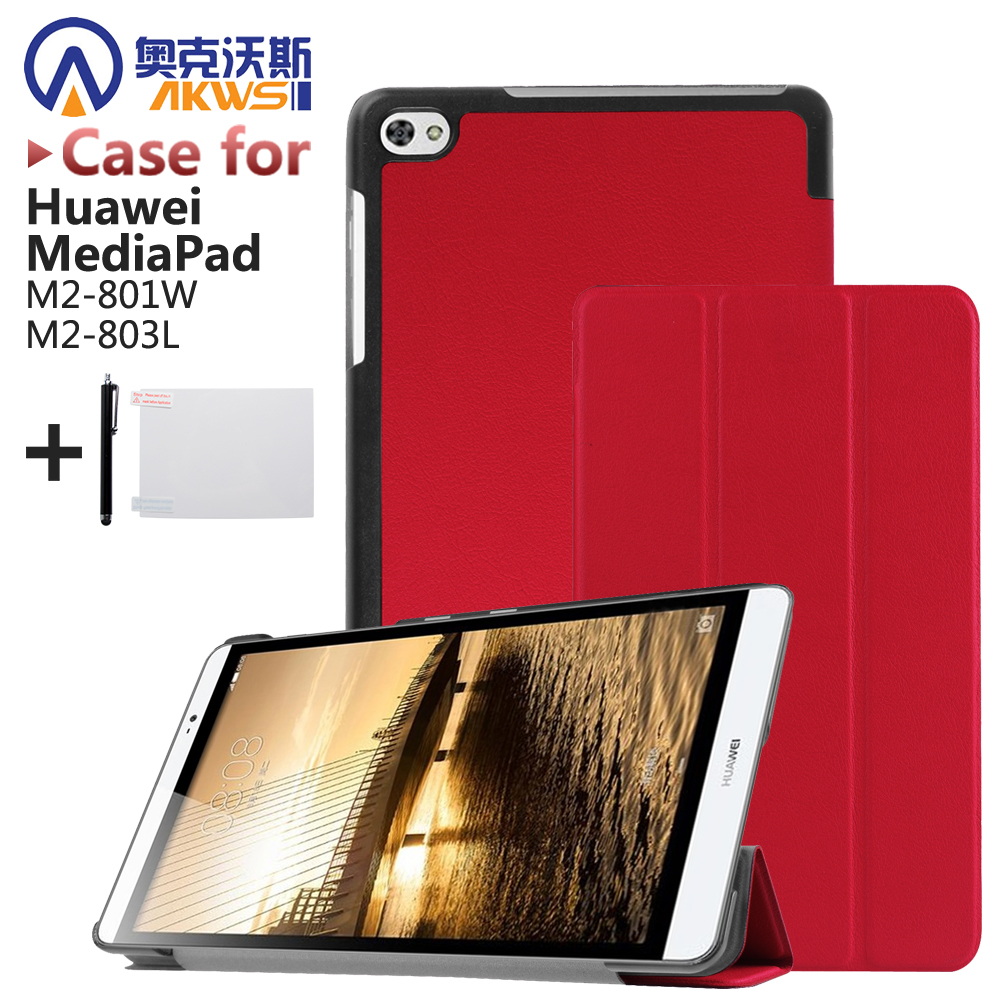 Smart protective leather cover case For Huawei MediaPad M2 M2-801W M2-803L Huawei M2 8.0 tablet case +screen protector