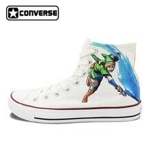 Мужские кеды Converse дизайнер ручной росписью обувь Легенда о Zelda женская брендовая обувь Chuck Taylor