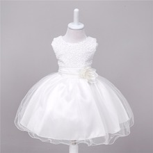 0-2 Year Baby Kids Girls Sleeveless Dress O-Neck Lolita Style Dresses For Girls Sequins Solid Flowers Belt Long Section Baby Gir