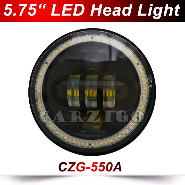 5 3/4 5.75 led headlight for Harley motorcycles with DOT 5.75 inch Round 50W LED Headlamp with H/L white amber halo ring DRL