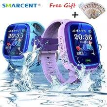 Купить онлайн Smarcent df25 GPS Смарт-часы sos-вызов IP67 Водонепроницаемый SmartWatch для детей дети Безопасный устройства трекер анти-потерянный pk q50 Q90 q100