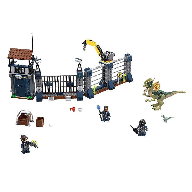 342PCS Jurassic World Park Dinosaur Raptor protection zone Building Blocks Sets Bricks Kids Toys juguetes Classic Legoings XD332 mini jurassic world park fossil triceratops raptor skeleton building blocks sets bricks kids model kids creator toys marvel city