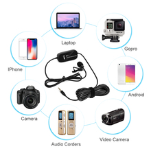 K&F Concept Lavalier Microphonee Portable External Mic with Clip-on Recording System for Gopro Hero 7 Smart Phones DSLR Cameras