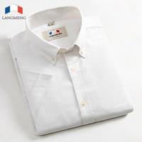 Langmeng Marca Mens Shirt 2017 Nuovi Uomini 100% Cotone Abito Camicia Di Modo Camicia Casual Estate Solido Stile Oxford Camicie Casual